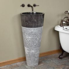 Winchester Beige Travertine Pedestal Sink - Bathroom