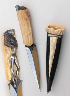 """Arpad Bojtos - Name: """"Hommage and Bruno Bruni [integral]"""" Materials: Blade: 440 C Handle: mammoth ivory, steel Sheath: ebony, mammoth ivory, fossil walrus ivory, silver, gold Description: The total lenght: 30 CMs [12 inches]."""