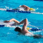 Check out how the front swimmer is badly positioned in the water. Head very high and hips very low.