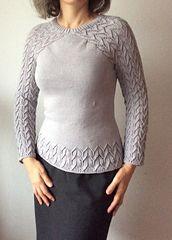 Eine Pullover/sweater Variante der Rosina, als spezielles RVO gestrickt, entweder mit Elfenborten-oder Rosina Abschluss.