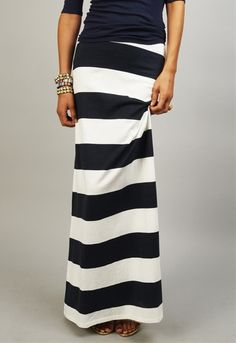Love this classic stripe!  Right Here Stripe Maxi Skirt