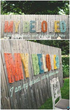 DIY String Art Garden Fence Decor-20 Backyard Fence Decoration Makeover DIY Ideas
