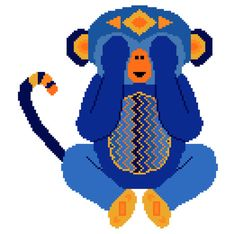 See no evil. Modern cross stitch pattern of a little monkey in bright blues. Contemporary cross stitch design.
