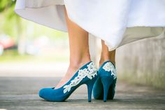 Wedding Shoes  Teal Blue Wedding Shoes Teal Heel by walkinonair, $59.00 If only they weren't heels… sigh.