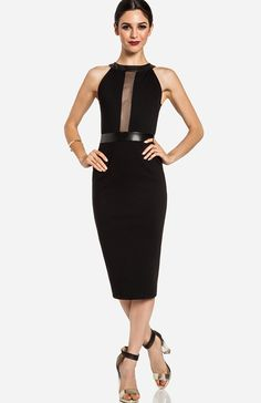 a26dca75f2937 Mesh Strip Midi Dress Simple Dresses