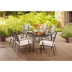 Marshall 7-Piece Patio Dining Set with Textured Silver Pebble Cushions