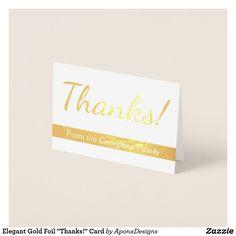 "Shop Elegant Gold Foil ""Thank You!"" Card created by AponxDesigns. Paper Envelopes, White Envelopes, Thank You Greeting Cards, Thanks Card, Colored Paper, Gold Foil, Thankful, Place Card Holders, Elegant"