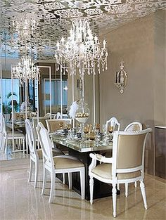 Dining room with mirrored ceiling and chandeliers NV133   Flickr - Photo Sharing!