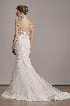 French Alencon lace on Italian soft tulle mermaid wedding dress with illusion neckline & back. Liancarlo, Spring 2016