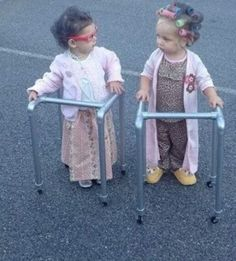 Adorable toddlers dressed as old ladies!