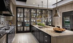 Transitional Photo Gallery Downsview Kitchens and Fine Custom Cabinetry Manufacturers of Custom Kitchen Cabinets - hate how dark it is but love the open cabinets, fridge and layout Kitchen Cabinets Brands, Custom Kitchen Cabinets, Custom Kitchens, Custom Cabinetry, Home Kitchens, Glass Kitchen Cabinets, Kitchen Pantry, Open Cabinets, Kitchen Shelves