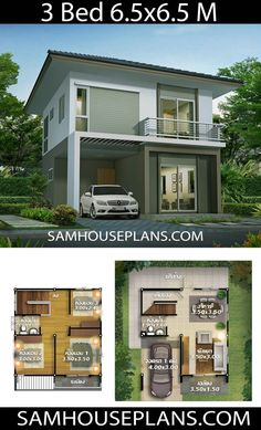 House plans with 3 bedroom - Sam House Plans 3 Bedroom Houses For Rent By Owner Simple House Plans, Simple House Design, Family House Plans, House Front Design, Dream House Plans, Modern House Design, Small House Layout, House Layouts, Philippines House Design