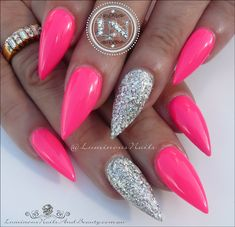 Stunning Hot Pink and Silver Sculptured Acrylic Stiletto Nails. Silver Nails, Bling Nails, Glitter Nails, Pink Bling, Silver Glitter, Glitter Balloons, Silver Ombre, Acrylic Nails Stiletto, Square Acrylic Nails