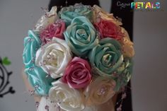 Sweet Mint Green Pink & White Satin Ribbon Rose by CuriousPetals, £80.00