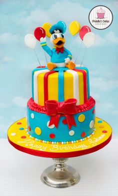Donald Duck two tiered birthday cake