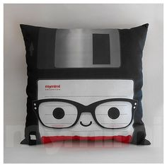 Awesome, geeky office decor! Love this // Decorative Pillow Floppy Disk Nerdy Geekery 80's Retro by mymimi, $28.00