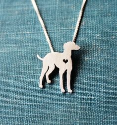 Greyhound necklace sterling silver tiny silver by justplainsimple, $40.00