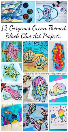12 Gorgeous ocean themed black glue art projects. Free printables included with some. Summer arts and crafts for kids. Painting and watercolors