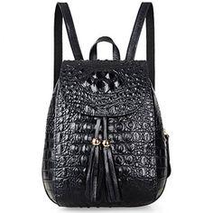 Pijushi Womens Mini Leather Backpack Crocodile Handbag Purses (B66810  Black) ... f703b56280e92