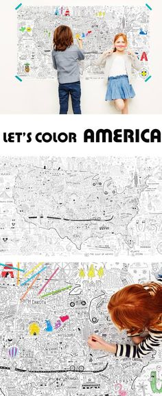 A giant coloring map of America is a fun and educational project for kids, it introduces art and geography and encourages collaboration. Great classroom or homeschool activity. Better than a coloring page- at Non Toy Gifts