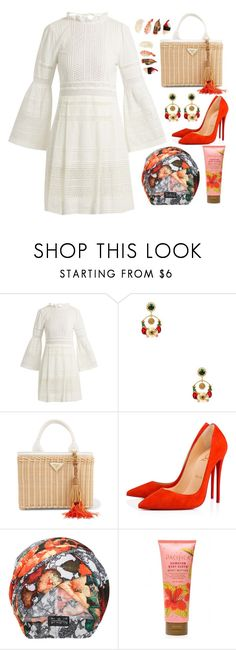 """""""Sushi Night"""" by prettyorchid22 ❤ liked on Polyvore featuring Sea, New York, Eye Candy, Prada, Christian Louboutin, The Future Heirlooms Boutique and basketbags"""