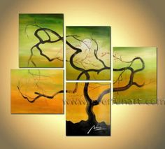 curly willow tree - oil painting