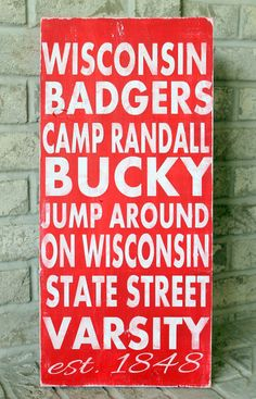 College Signs Decoration Wisconsin Badgers Madison Typography Word Art Wood Sign  Hand