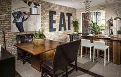 idée de mur en briques et déco salle à manger moderne