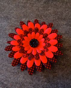 Hair Flower Clip with Sparkly Black Center and Red by PrimAndGrim on #etsy #hairclip #redflowerclip