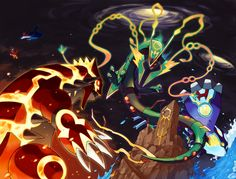 The Titans Battle by Tomycase.deviantart.com on @DeviantArt (Primal Groudon, Primal Kyogre, Mega Rayquaza, Latios and Latias)