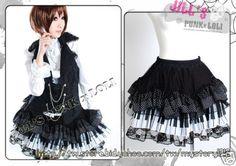 $39.00 Lolita Cutie Kera Tiered Puff Tulle Piano Keys Skirt FA106 B   eBay