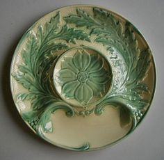 "Antique French Majolica Artichoke Plate Stamped "" Gien France "" C 1920 