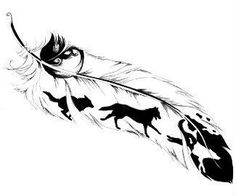 Wolf Feather Tattoo (I would alter this, but I love the idea!) #FeatherTattooIdeas