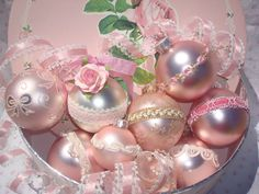 Shabby Chic Victorian Pink Christmas Bulbs With Ribbon Lace Paper Roses Decorative Hook Set Of 2