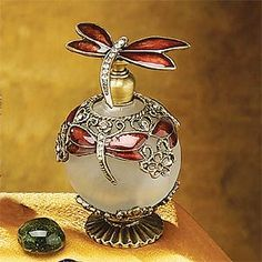 Burgundy Crystal Dragonfly Perfume Bottle