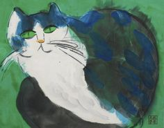 walasse ting(1929-2010), calico cat, c. 1990s. acrylic and ink on rice paper, 81 x 68 cm. sotheby's