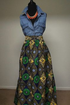 Chic High-Waist Ankara African Print Ethnic Maxi Skirt with Pockets #DIYANU #Maxi