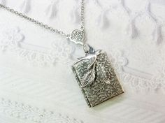 Silver Locket Necklace- Silver Nesting Bird Book Locket  - by BirdzNbeez - Wedding Bridesmaid Birthday Teacher