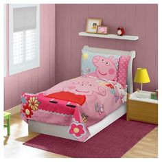peppa pig wall decal vinyl sticker personalised. Black Bedroom Furniture Sets. Home Design Ideas