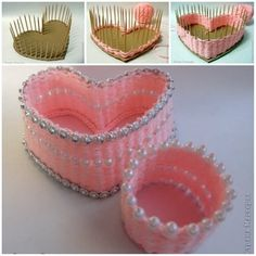 DIY Small Heart Shaped Container with Yarn