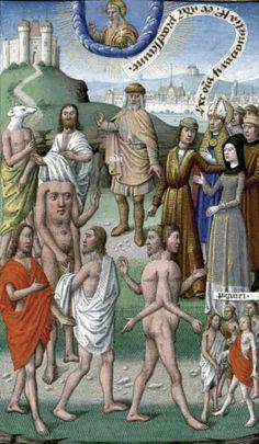 Augustin - De Civitate Dei contra Paganos (c. 1475). The antipodes. Illumination by Maître François.