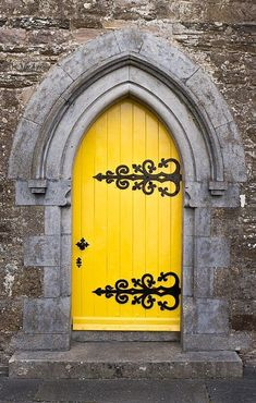 Kilworth, County Cork, Ireland Amazing doorway in bright yellow color. Cool Doors, Unique Doors, The Doors, Windows And Doors, Front Doors, Knobs And Knockers, Door Knobs, When One Door Closes, Yellow Doors