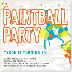 Paint Ball Party Invite