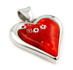 Murano Glass Millefiori Red Heart Sterling Silver Pendant Millefiori. $95.17. Authentic Murano Glass from Italy. Designer Jewelry by Alan K.. Approximate Length: 53 MM (2.07 INCHES). Approximate Width: 38 MM (1.48 INCHES). Handmade (patterns and colors may slightly vary)