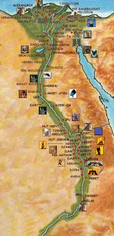 Ancient Egypt Map WITH Real Egyptian names of their cities . Egyptian Names, Egyptian Temple, Ancient Egyptian Art, Ancient Aliens, Ancient History, Ancient Greek, Luxor, Egypt Map, Empire Romain