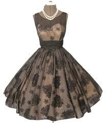 1950s full skirted illusion lace flocked party dress