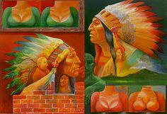 "Robert Freeman (Dakota-Luiseño, b. 1939)    LIZ TAYLOR INDIANS 1988   oil on paper 10"" x 14"""
