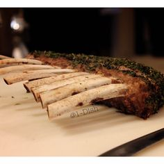 Herb Crusted Lamb  by #1Dish If you want the recipe for this delicious dish, or other awesome recipes find us on instagram - Our link is below!   * Also find #Paleo, #glutenfree, #vegan, #vegetarian, #baking #desserts.  #Cooking tips and much more!