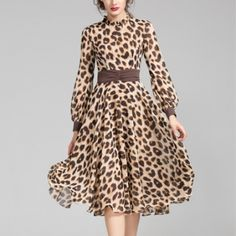 Women's Leopard Print Slimming Chiffon Pleated Long Sleeve Dresses