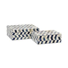 Essentials Marine Blue Bone Boxes - Set of 2 | IMAX Worldwide Home | Your Leading Supplier for Home and Garden Accessories